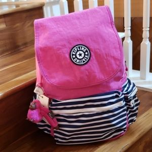 NWT kipling Ezra backpack SUPERB STRIPE PINK MX